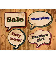 Vintage shopping themed speech bubbles vector