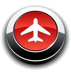 Aircraft 3d round button vector