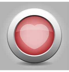 Gray chrome button with heart vector
