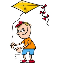 Boy with kite cartoon vector