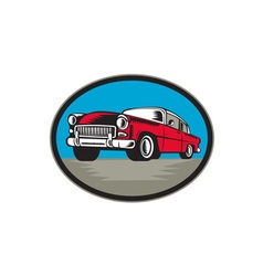 Vintage classic car low angle woodcut vector