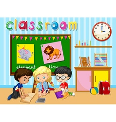 Children working in group in classroom vector