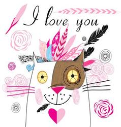 Bright graphics greeting card with lovers cats vector