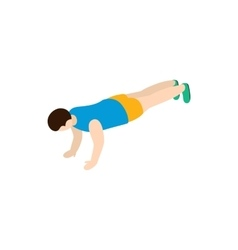 Man exercising push-ups icon isometric 3d style vector