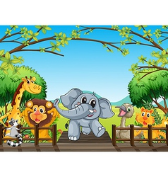 A group of wild animals at the bridge in the vector image vector image