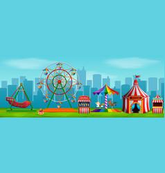 Amusement park scene at daytime vector
