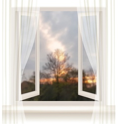 Background with an open window and an evening vector