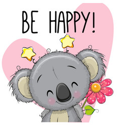 be happy greeting card with koala vector image