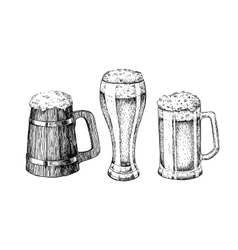 Beer glass mug wooden mug Hand drawn vector image