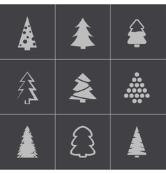 black christmas tree icons set vector image vector image