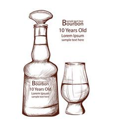 bourbon vintage bottle in line art vector image