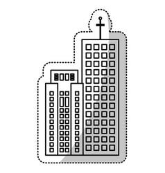 Building facade commercial line vector