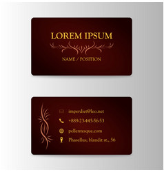 Business card with wooden pattern in brown and vector