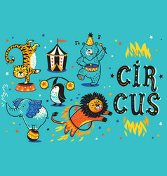 cartoon circus animals vector image vector image