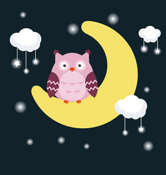 Cartoon owl sitting on the moon cartoon owl vector