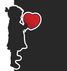 Child with red heart silhouette vector