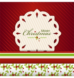 Christmas snowflake label on red2 vector image vector image