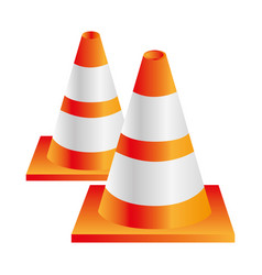 Colorful realistic striped couple traffic cone vector