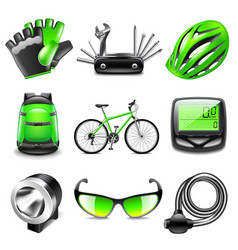 cycling icons set vector image