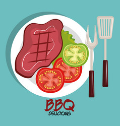 Delicious meat beef bbq menu vector