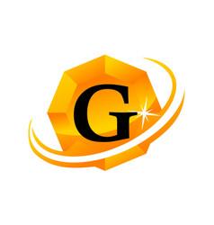 diamond swoosh initial g vector image vector image