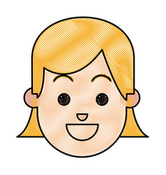Drawing face girl happy expression cartoon vector