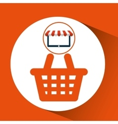 E-commerce virtual shop cart icon vector