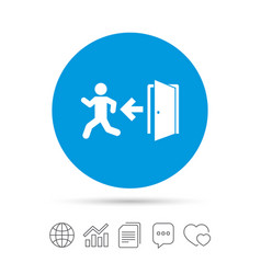 Emergency exit sign icon door with left arrow vector
