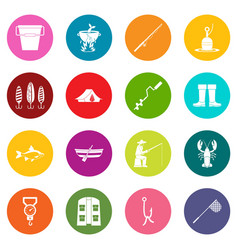 Fishing tools icons many colors set vector