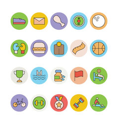 Fitness and health colored icons 4 vector