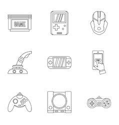 Game console icons set outline style vector
