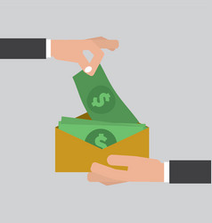 hand giving money to other hand corruption concept vector image