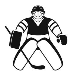 Hockey goalkeeper icon simple style vector