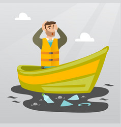 Man floating in a boat in polluted water vector