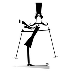 mustache man in the top hat a skier isolated vector image vector image