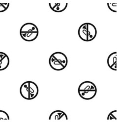 no horn traffic sign pattern seamless black vector image vector image