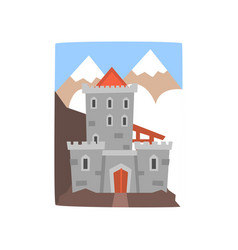 Old medieval castle with mountains landscape vector