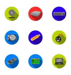 Personal computer set icons in flat style big vector