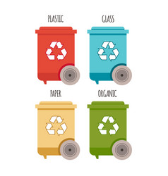 Recycle bins waste management and recycle concept vector