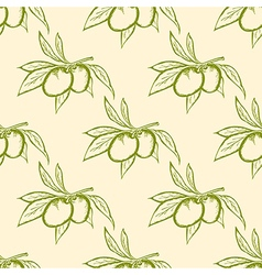 Seamless pattern with green olives vector image vector image