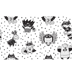 Seamless pattern with superhero animals ink vector