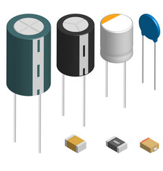 set of different capacitors in 3d vector image vector image