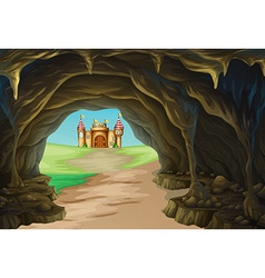 View of cave and castle vector image vector image