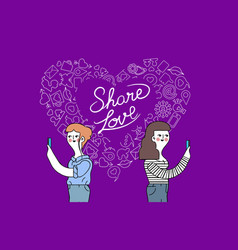 Women friendship and love internet concept design vector