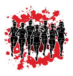 women running marathon runners vector image vector image