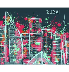 Dubai cityscape with abstract watercolor splashes vector