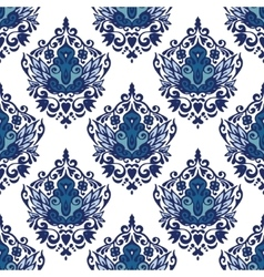 Damask flourish flower seamless pattern blue and vector