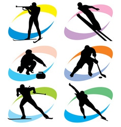 Set winter sport icons vector