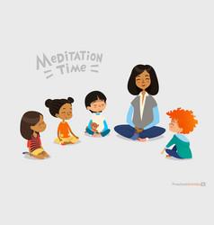 preschool female teacher and smiling kids sitting vector image