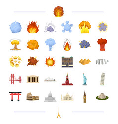 Travel landmark monument and other web icon in vector